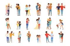 设置与拥抱人 朋友、女朋友、兄弟、母亲和孩子,在爱的夫妇 漫画人物与 向量例证