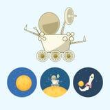 设置与月亮,太空飞船, moonwalker,流浪者,传染媒介例证的象 库存例证