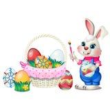 设置与样式的五颜六色的复活节彩蛋,并且滑稽的生气蓬勃的兔宝宝在白色背景隔绝的爪子刷子举行 库存图片