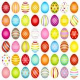 设置与样式的亭亭玉立的复活节彩蛋颜色 库存例证