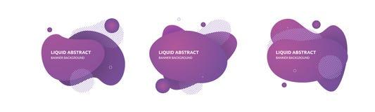 设置与液体形状的抽象背景 向量例证