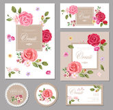 设置与玫瑰的卡片 背景细部图花卉向量 设计构成 免版税库存照片