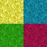 设置与玫瑰的无缝的样式在不同颜色 可适用为纺织品,包装纸和其他 ?? 皇族释放例证