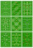 设置与球员一份不同的计划的九个橄榄球场领域的 皇族释放例证