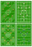 设置与球员一份不同的计划的四个橄榄球场领域的 向量例证