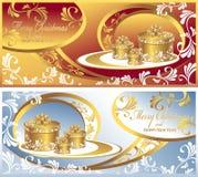 设置与礼品的明信片圣诞节的 免版税库存图片