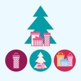 设置与礼物盒,与礼物盒的圣诞树,传染媒介例证的象 库存照片