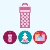 设置与礼物盒,与礼物盒的圣诞树,传染媒介例证的象 免版税库存图片