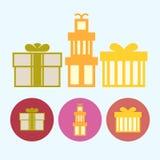 设置与礼物盒,传染媒介例证的象 库存图片