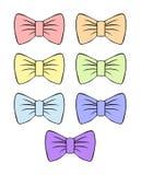 设置与等高的传染媒介柔和的弓 装饰和设计的淡色弓剪影 儿童` s例证 服装 向量例证