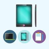 设置与膝上型计算机,笔记本,电话,小配件,有铅笔的剪贴板,传染媒介例证的象 库存例证