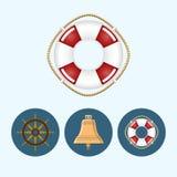 设置与色的响铃, lifebuoy,船轮子,传染媒介例证的象 库存照片