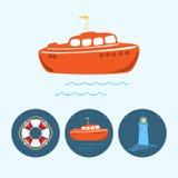 设置与色的小船,救生圈,灯塔,传染媒介例证的象 库存图片