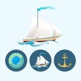 设置与色的帆船,船锚,舷窗,传染媒介例证的象 库存例证