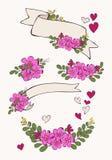 设置与花、心脏和丝带 库存照片