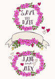 设置与花、心脏和丝带 免版税库存照片