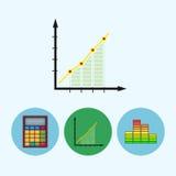 设置与计算器,显示,图, infographics,图,日程表,传染媒介例证的象 库存例证