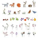 设置与逗人喜爱的动物 野生生物 森林蘑菇、花和叶子 免版税库存图片
