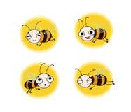 设置与逗人喜爱的动画片蜂 免版税库存照片