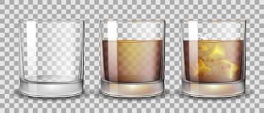 设置与酒精的无威士忌酒、兰姆酒、波旁酒或者科涅克白兰地玻璃和 透明酒精玻璃在a喝 库存例证