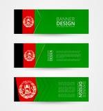 设置与阿富汗的旗子的三副水平的横幅 网横幅在阿富汗旗子的颜色的设计模板 库存例证
