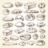 设置与面包店产品 皇族释放例证