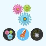 设置与齿轮,火箭,音量控制,传染媒介例证的象 向量例证
