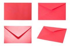 设置与4个红色信封 免版税图库摄影