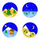 设置与滑雪风景的图片在山的下雪和树 免版税库存图片