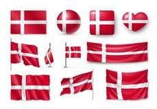 设置丹麦旗子,横幅,横幅,标志,平的象 皇族释放例证