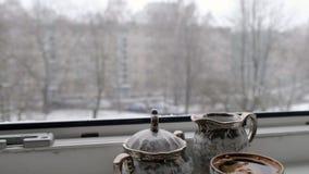 设置为咖啡在窗口4K录影 影视素材