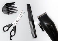 设置为理发的工具,剪,梳 免版税库存照片