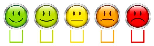 设置五张五颜六色的与箱子的面孔心情银色框架 库存例证