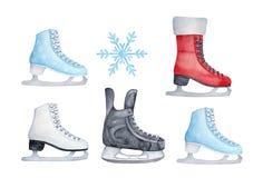 设置五颜六色的滑冰的鞋子 皇族释放例证