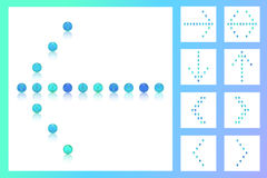 设置五颜六色的蓝色口气珍珠,糖果,甜点,糖,糖果,标志9个箭头  库存图片