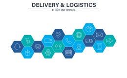 设置交付和后勤学在线型的网象 传讯者,运输,快递,跟踪命令,支持,事务 向量例证