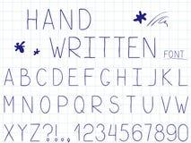 设置传染媒介线简单的字体和字母表 库存例证