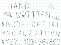 设置传染媒介线简单的字体和字母表 向量例证