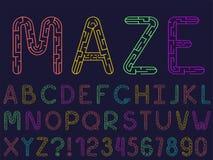 设置传染媒介线迷宫字体和字母表 向量例证