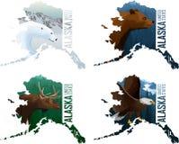 设置传染媒介阿拉斯加与北美灰熊、白头鹰、麋和北极熊的美国州地图 向量例证