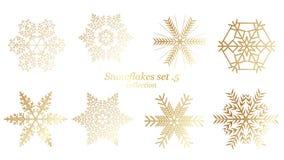 设置传染媒介雪花与金子豪华颜色的圣诞节设计在白色背景 向量例证