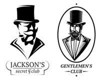 设置传染媒介先生们的俱乐部的商标模板 库存例证