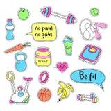 设置体育运动贴纸 手拉的健身补丁徽章 免版税库存照片