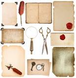 设置使用的纸板料边缘葡萄酒书页照片框架sciss 免版税库存图片