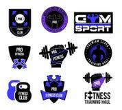 设置健身俱乐部商标和标签 免版税库存照片