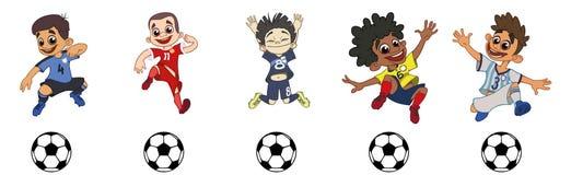 设置儿童足球运动员,打球 库存例证