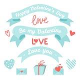 设置元素为情人节,婚礼设计 包括丝带,心脏,信封,礼物盒,在上写字 爱 向量例证