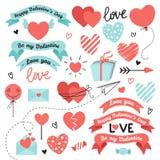 设置元素为情人节,婚礼设计 包括心脏,丝带,甜点,信件,信封,箭头 爱 皇族释放例证