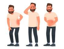 设置充满痛苦的字符人用不同的身体部位 腰疼,胃肠痛苦,头疼,偏头痛 库存例证