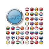 设置光滑的按钮旗子 欧罗巴 例证 10 eps 皇族释放例证
